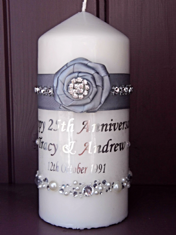 Silver Anniversary Candle gift